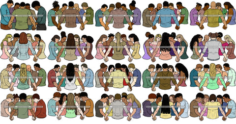 Bundle 20 Group Of People Praying Together Equality Freedom Love Woman Man Young People Prayers Pray   SVG Cutting Files For Silhouette Cricut and More