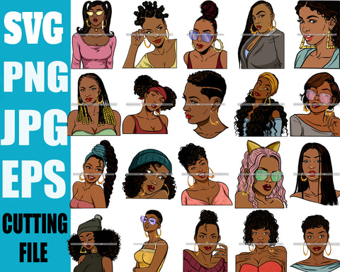 Bundle 20 Black Queen Hipster Fashion Bamboo Earrings Model Boss Lady Nubian Queen Melanin SVG Cutting Files For Silhouette Cricut and More
