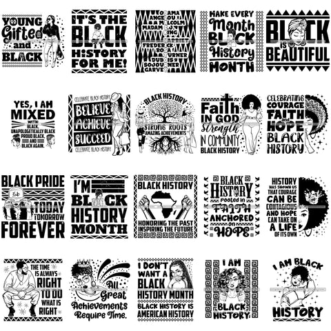 Bundle 20 Black History Month Quotes Vector Designs Elements Logo .SVG Cut Files For Silhouette Cricut and More!