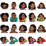 Bundle 20 Afro Lola Hands In Face Wondering Black Girl Magic Melanin Nubian SVG JPG PNG Cutting Files For Silhouette Cricut and More