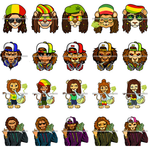 Bundle 20 Rasta Lion Smoking Bong Gangster Money Talks SVG JPG PNG Vector Designs Clipart For Cricut Silhouette Cut Cutting and More!