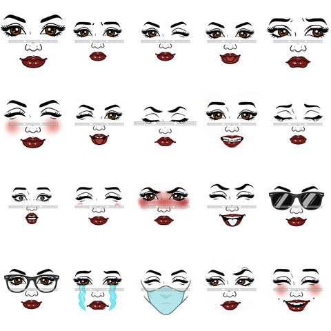 Bundle 20 Woman Face Expression Logo Designs Elements PNG JPG Cut Files For Silhouette Cricut and More!