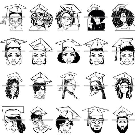 Bundle 20 Graduation Cap Woman Man Success Achievements Education College Ceremony Student Graduate SVG PNG JPG Cutting Files For Silhouette Cricut and More!