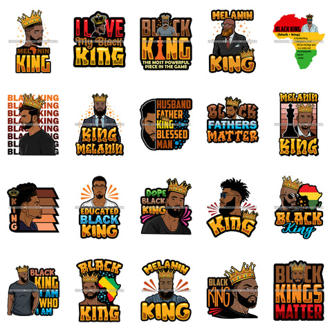 Bundle 20 Afro Black King Man Power Handsome Bearded Father Pride Proud Husband SVG Cutting Files For Silhouette Cricut and More!