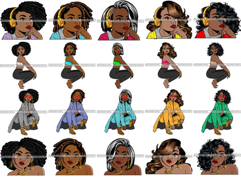 Bundle 20 Lola Afro Cute Urban Hipster Girl Big Eyes Boss Lady Nubian Queen Melanin Popping SVG Cutting Files For Silhouette Cricut and More