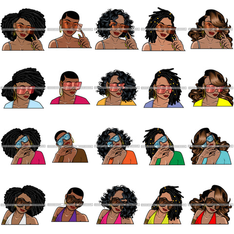 Bundle 20 Afro Lola Wearing Fashion Big Glasses Hipster Woman Lady Nubian Queen Melanin Popping SVG Cutting Files For Silhouette Cricut and More