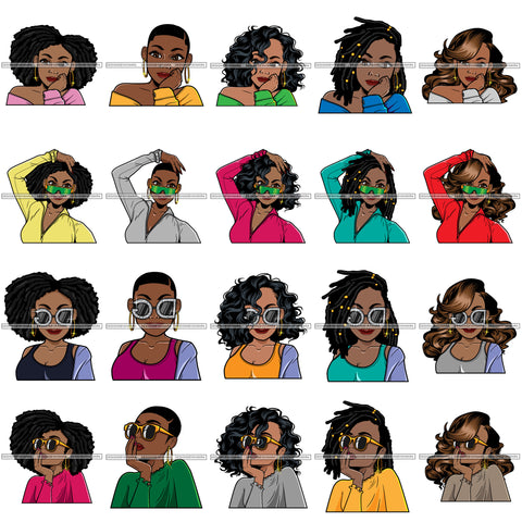 Bundle 20 Afro Lola Black Woman Cool Fashion Glasses Diva Melanin Black Girl Magic .SVG Cut Files For Silhouette Cricut and More!