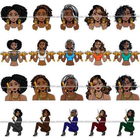 Bundle 20 Afro Gangster Lola Caring Hand Gun Bad Ass Boss Lady Strong Woman Attitude Nubian Queen Melanin SVG Cutting Files For Silhouette Cricut and More