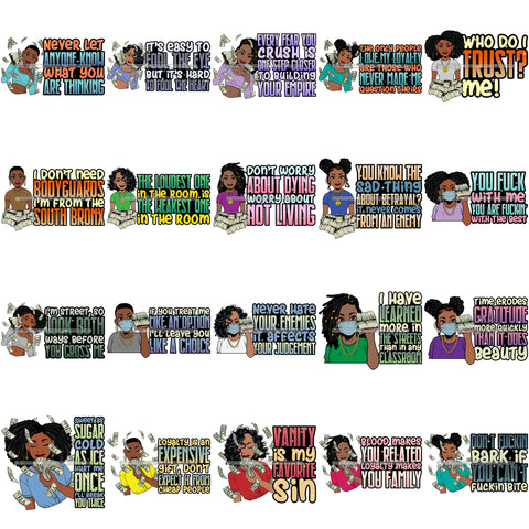 Bundle 20 Lola I Don't Need Bodyguard Gangster Quotes Hustler Stock Of Money Face Mask Savage Melanin Queen SVG PNG JPG Cutting Files For Silhouette Cricut and More!