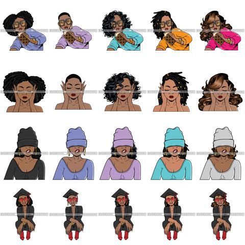 Bundle 20 Gangster Afro Lola Diva Glamour Black Girl Magic Graduation Girl .SVG Cut Files For Silhouette Cricut and More!
