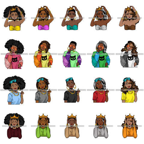 Bundle 20 Afro Beautiful Lola Queen Boss Lady Black Woman Nubian Melanin Popping  SVG Cutting Files For Silhouette Cricut and More
