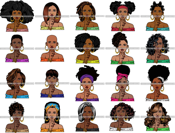 Bundle 20 Afro Lola Don't Say Nothing Beautiful Face Model Beauty Trendy Girl Glamour Vogue .SVG Clipart Vector Cutting Files For Silhouette Cricut and More!