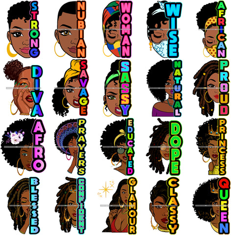 Bundle 20 Wise Strong Nubian Half Face Colorful Quotes Layered SVG Black Girl Magic Melanin Popping Hipster Girls SVG JPG PNG Cutting Files For Silhouette Cricut and More