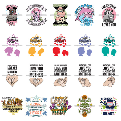 Bundle 20 Happy Mothers Day Celebration Grandma Mommy Granny Cute Quotes SVG JPG PNG Vector Clipart Cricut Silhouette Cut Cutting
