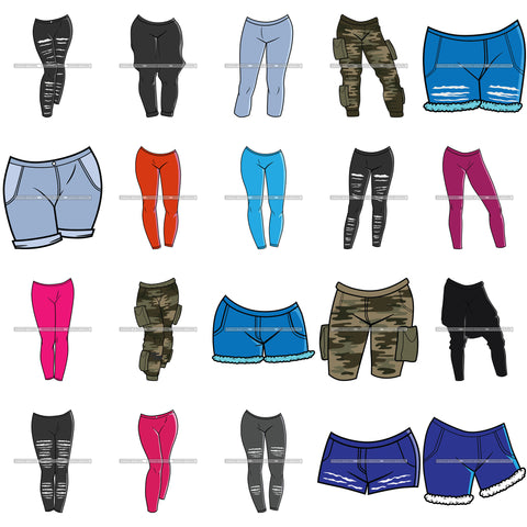 Bundle 20 Bottoms Casual Outfits Shorts Camouflage Leggings Tights Pants Fashion SVG JPG PNG Layered Cutting Files For Silhouette Cricut and More