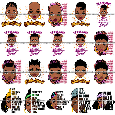 Bundle 20 Blacknificent Black Queen I'm Not Antisocial SVG Cutting Files For Silhouette and Cricut and More!