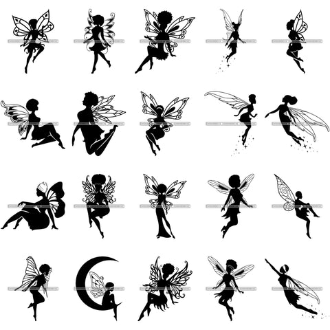 Bundle 20 Afro Silhouette Fairy Wings Fantasy Flying .SVG Cut Files For Silhouette Cricut and More!