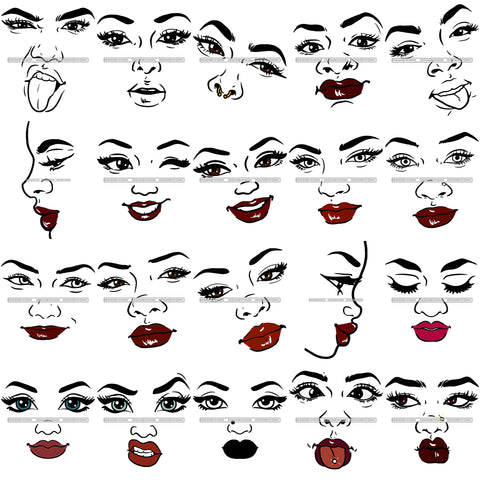 Bundle 20 Beautiful Woman Only Face Make Up Model Lips Eyes Eyelashes Layered SVG Black Girl Magic Melanin Popping Hipster Girls SVG JPG PNG Cutting Files For Silhouette Cricut and More