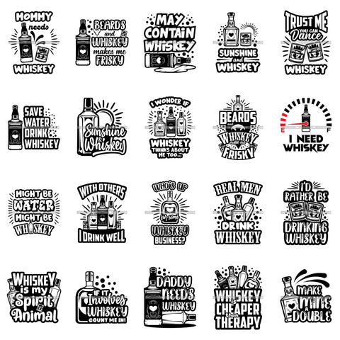 Bundle 20 Whiskey Funny Quotes Designs For T-Shirt .SVG Cut Files For Silhouette Cricut and More!