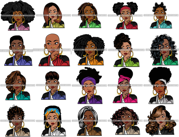Bundle 20 Afro Lola Thinking Looking Worried Beautiful Black Woman Face SVG Cutting Files For Silhouette Cricut and More