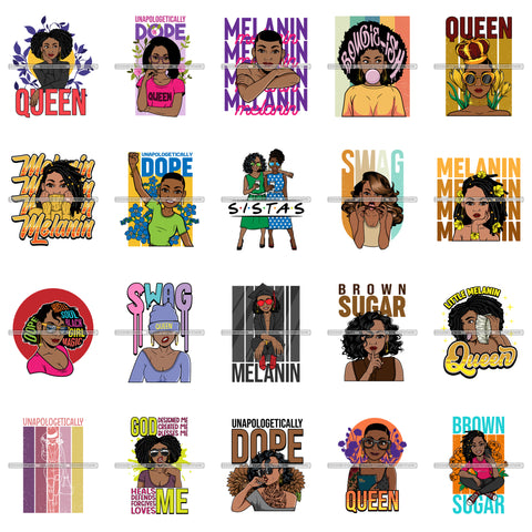 Bundle 20 Melanin Queen Afro Black Woman Quotes Brown Sugar .SVG Cut Files For Silhouette Cricut and More!