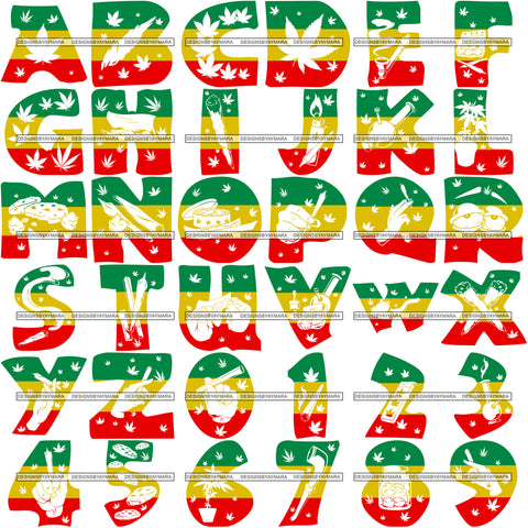 Bundle 36 Marijuana Alphabet Numbers Letters Creation Kit SVG JPG PNG Layered Cutting Files For Silhouette Cricut and More