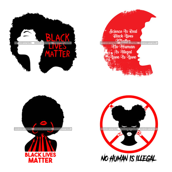 Bundle 4 Black Lives Matter Humanity Social Protest Justice Black-Owned Businesses SVG PNG JPG Vector Cutting Files