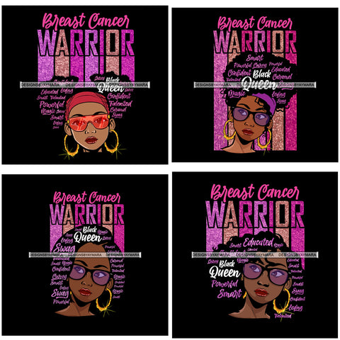 Bundle 4 Afro Lola Breast Cancer Warrior Survivor Fighter Black Woman Lady Nubian Queen Melanin Popping SVG Cutting Files For Silhouette Cricut and More