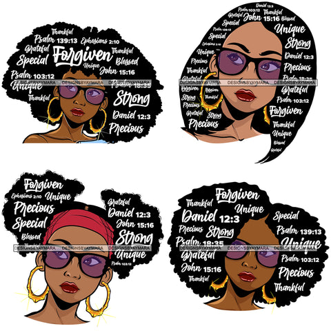 Bundle 4 Afro Lola Hair Quotes Black Woman Queen Forgiven Unique Educated Powerful Precious Lady Nubian Queen Melanin Popping SVG Cutting Files For Silhouette Cricut and More