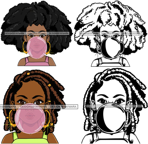 Bundle 4 Afro Cute Lola Chewing Gun Nubian Queen Melanin SVG Cutting Files For Silhouette Cricut and More