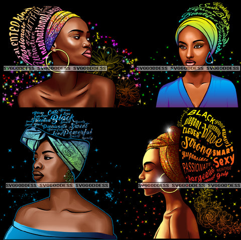 Bundle 4 Afro Woman Wearing Turban Quotes Passionate Talented Black Girl Magic Unique Designs JPG PNG Clipart Artwork