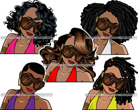 Bundle 5 Afro Lola Wearing Fashion Big Glasses Hipster Woman Lady Nubian Queen Melanin Popping SVG Cutting Files For Silhouette Cricut and More