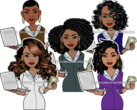 Bundle 5 Afro Lola Holding Money 100$ Bill Caring Computer Laptop Business Woman Entrepreneur Lady Nubian Queen Melanin Popping SVG Cutting Files For Silhouette Cricut and More