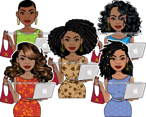 Bundle 5 Afro Lola Holding Purse Caring Computer Laptop Business Woman Entrepreneur Lady Nubian Queen Melanin Popping SVG Cutting Files For Silhouette Cricut and More