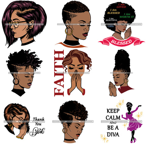 Bundle 9 Afro Woman Diva Glamour Goddess Dark Skin Color SVG Cutting Files For Silhouette Cricut and More!