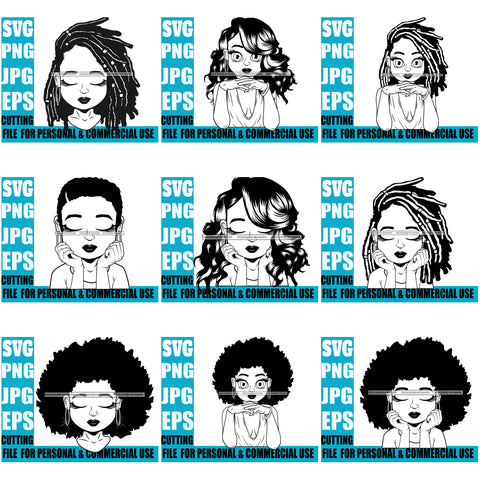 Bundle 9 Afro Cute Lili Designs For Commercial And Personal Use Black Girl Woman Nubian Queen Melanin SVG Cutting Files For Silhouette Cricut and More
