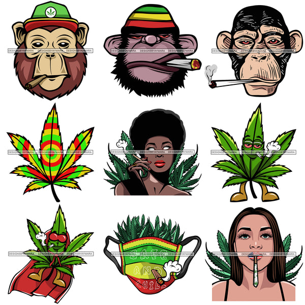 Bundle 9 Marijuana Pot Head Rasta 420 Cannabis Weed Leaf Grass Joint Blunt Stoned High Life SVG Cutting Files