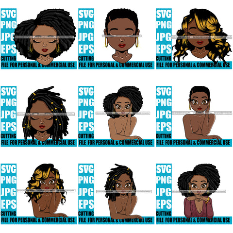 Bundle 9 Afro Cute Lili Designs For Commercial And Personal Use Black Woman Nubian Queen Melanin SVG Cutting Files For Silhouette Cricut and More