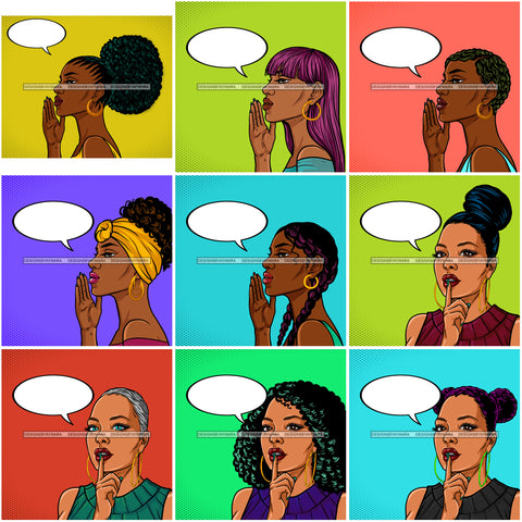 Bundle 9 Afro Woman Silence Sign Signal Shut Your Mouth Hands Covering Lips Retro Background JPG PNG Files For Silhouette Cricut and More
