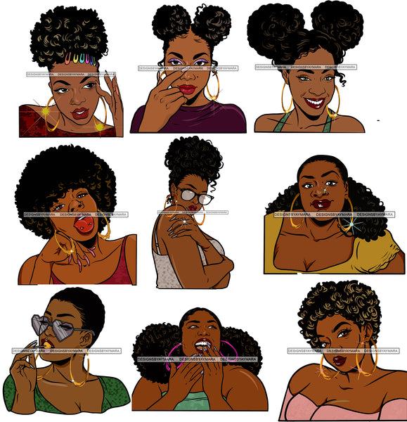 Bundle 9 Afro Girls Goddess bamboo Earrings Black Girl Magic Melanin Popping Hipster Girls SVG JPG PNG Layered Cutting Files For Silhouette Cricut and More