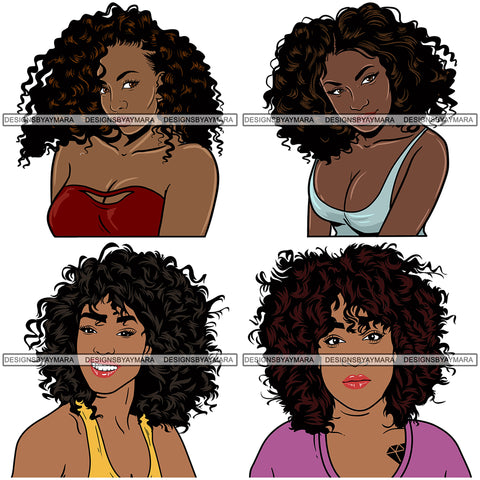Bundle 4 Afro Woman Melanin Popping SVG Files For Cutting and More!