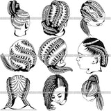 Bundle 9 Afro Woman Braids Dreads Dreadlocks Hairstyle SVG Cut Files For Silhouette and Cricut