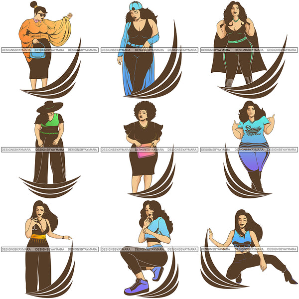 Bundle 9 Afro Beautiful Woman Goddess Diva Classy Lady .SVG Cut Files For Silhouette and Cricut