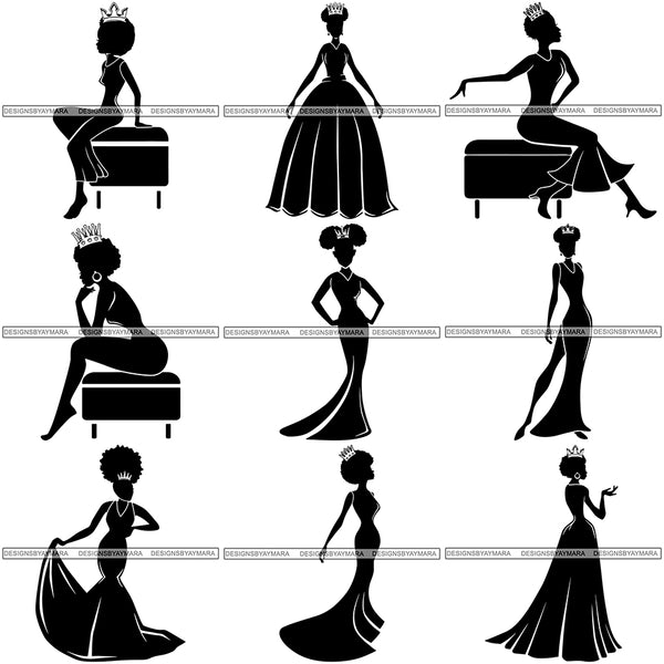 Bundle 9 Black Afro Queen Silhouette Style SVG Cut Files