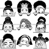 Bundle 9 Afro Woman Peek a Boo I see You Pretty Half Face SVG Cut Files For Silhouette and Cricut