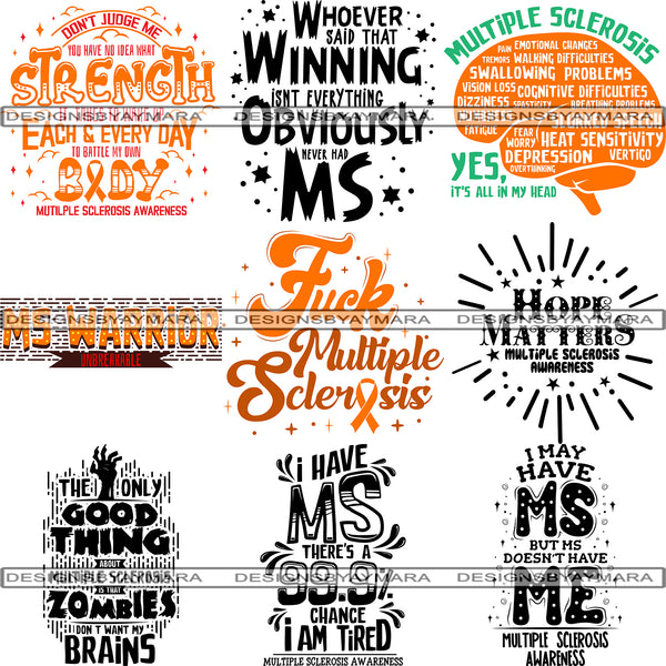 Bundle 10 Multiple Sclerosis Awareness SVG Quotes Cut Files For Silhouette and Cricut