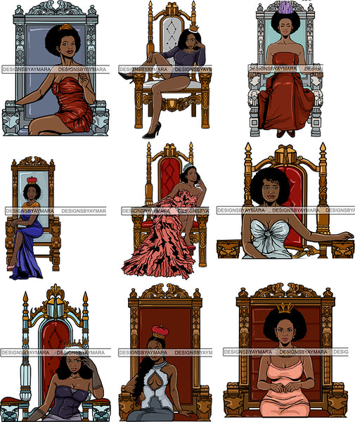 Bundle 9 Afro Queen Goddess Melanin Nubian Glamour .PNG Files For Print Not For Cutting