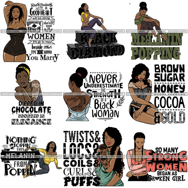 Bundle 9 Tattoo Goddess PNG Files For Print Not For Cutting