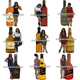 Bundle 9 Whiskey Goddess Black Woman Sexy Melanin Nubian Liqueur Beverage Alcohol PNG File For Print Not For Cutting Cut Files For Silhouette and Cricut