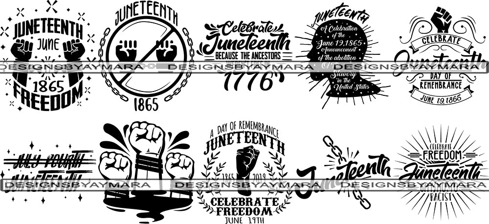 Bundle 10 Juneteenth Svg Quotes Cut Files For Silhouette And Cricut Designsbyaymara